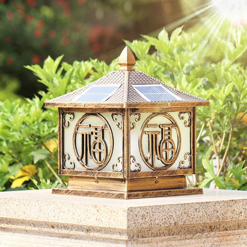 elegantemente projetado coluna pilar solar luzes ao ar livre da lampada de alta qualidade a prova