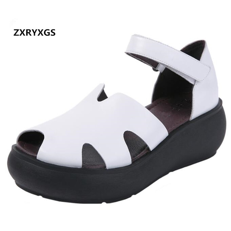 New Loose and Comfortable Summer Women Sandals 2019 100 Genuine Leather Shoes Woman Thick Bottom Platform
