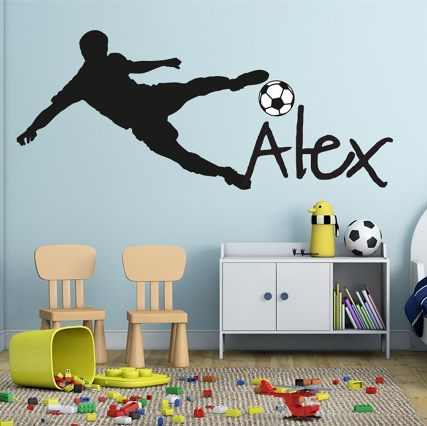 Bola sepak bola sepak bola Bola Sepak bola peribadi Nama Vinyl Wall Decal Sticker Seni Kanak-kanak Wall Sticker Kids Room Decor Y-91