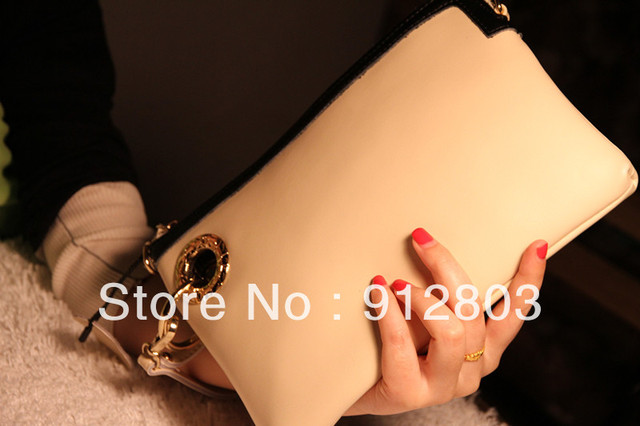 PROMOTION Women's GENUINE LEATHER 2013 Black Fashion Day Clutch Lady Clutches Casual Evening Envelope Wallet Purse Handbag Bags