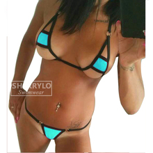 2PC Thong&Top Minimal Coverage Micro Bikini Mini Tanga Woman Swimsuit Womens Swimwear Thong Bottom Extreme Dance Wear Stripper