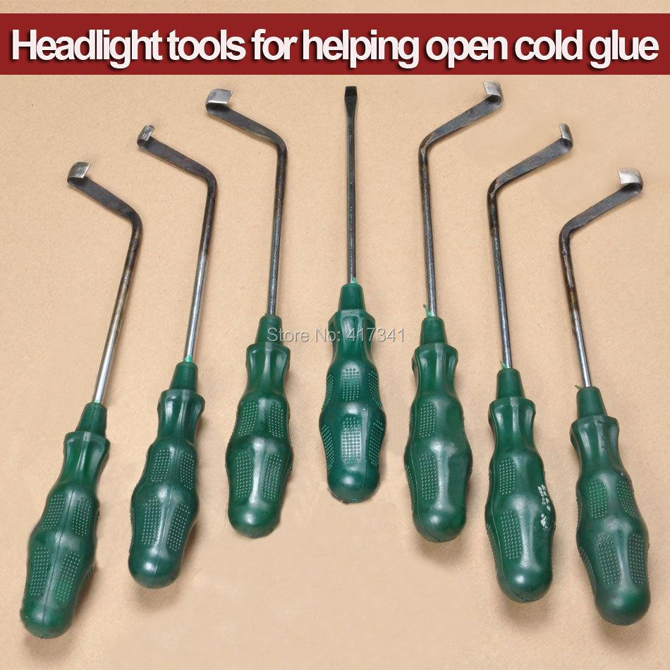 Бесплатная доставка открыть Фару инструмент холодное клей инструмент Нож для удаления холодной расплава клея герметика из фары 7 шт ножи