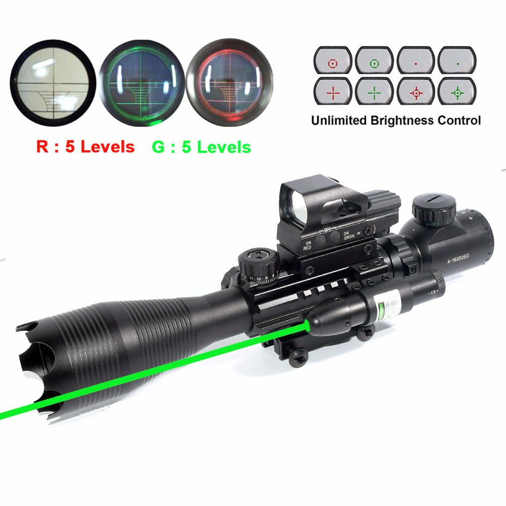 Rifle Scope 4-16x50 AOEG Illuminated Rangefinder Reflex 4 Reticle Red & Green Sight Green Dot Laser very100 new tactical reflex 3 10x 40 red green dot reticle sight rifle scope