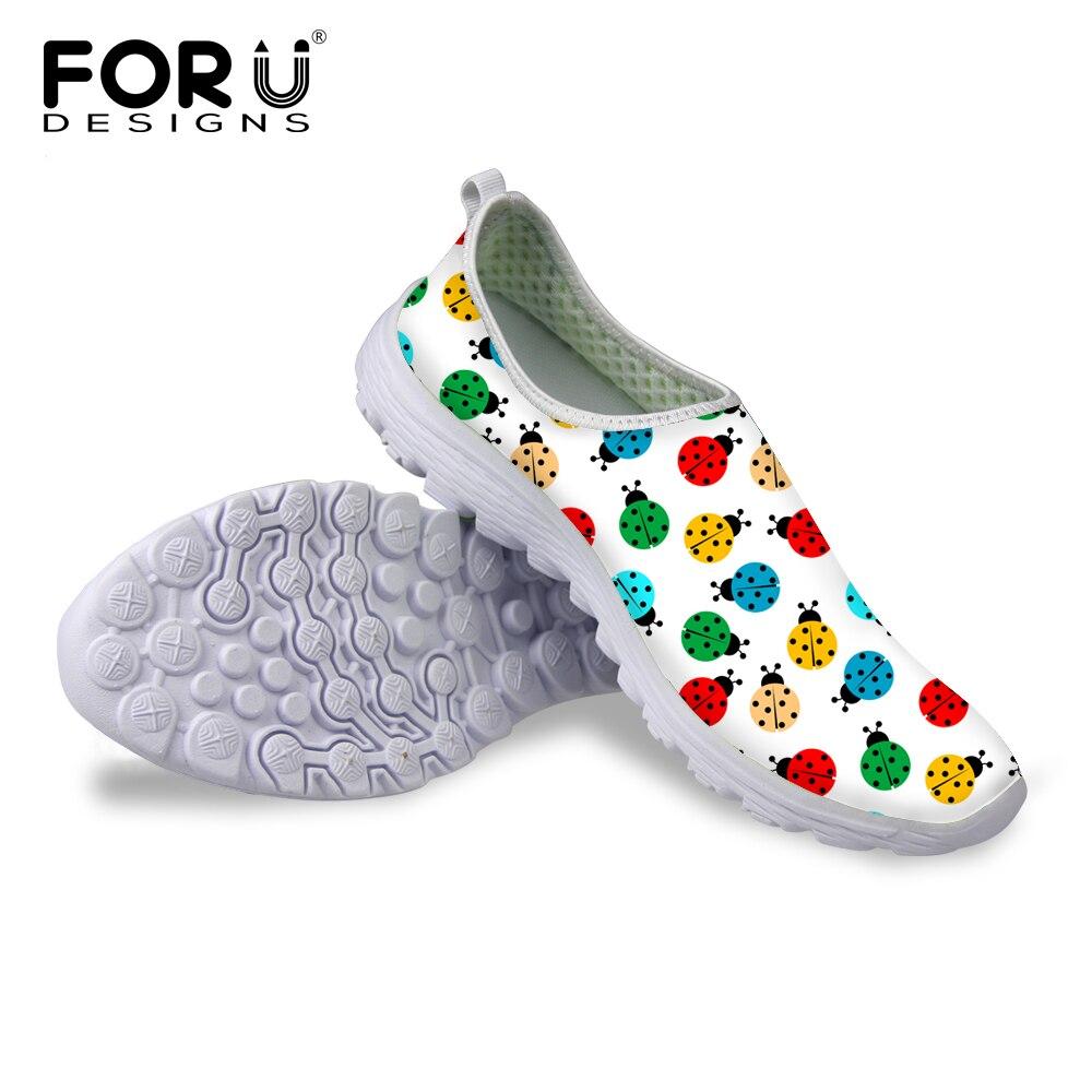 Mariquita Impresa Ocasional de Las Mujeres Zapatos de Otoño Primavera Verano Zap