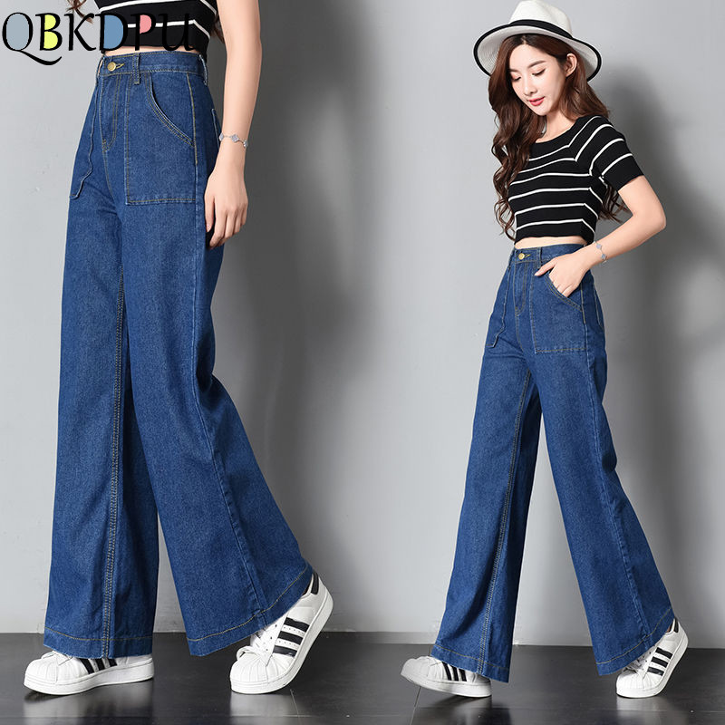 Vintage High Waisted Loose Wide Leg Denim Blue Pants Boyfriend Jeans For Women 2019 New Mom Jeans Pocket Trousers Plus Size