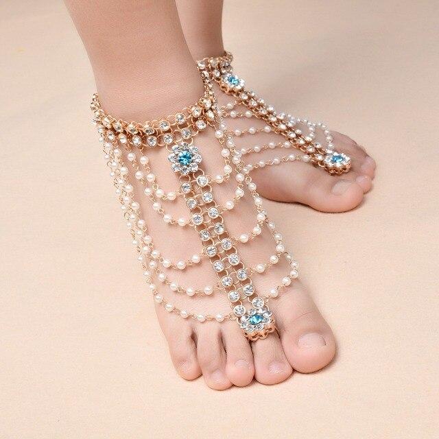 282eabf32d3711 Boho Vintage Multilayer Imitation Pearl Anklet for Women Tassel Rhinestone  Foot Jewelry Barefoot Sandal Crystal Beach