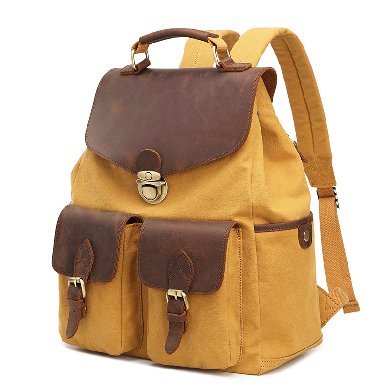 Fashion Leather Canvas Men Backpack School Bag Military Backpack Women Rucksack Male Knapsack Bagpack Mochila Travel Bag men student backpack vintage canvas backpack shoulder bag school bag travel bag book pack mochila satchel knapsack women bags