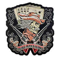 Machine Embroidery Patches Designs Custom Dead Man's Hand Cowboy & Guns Patch Large Back Sew On Stickers Patches For Clothes