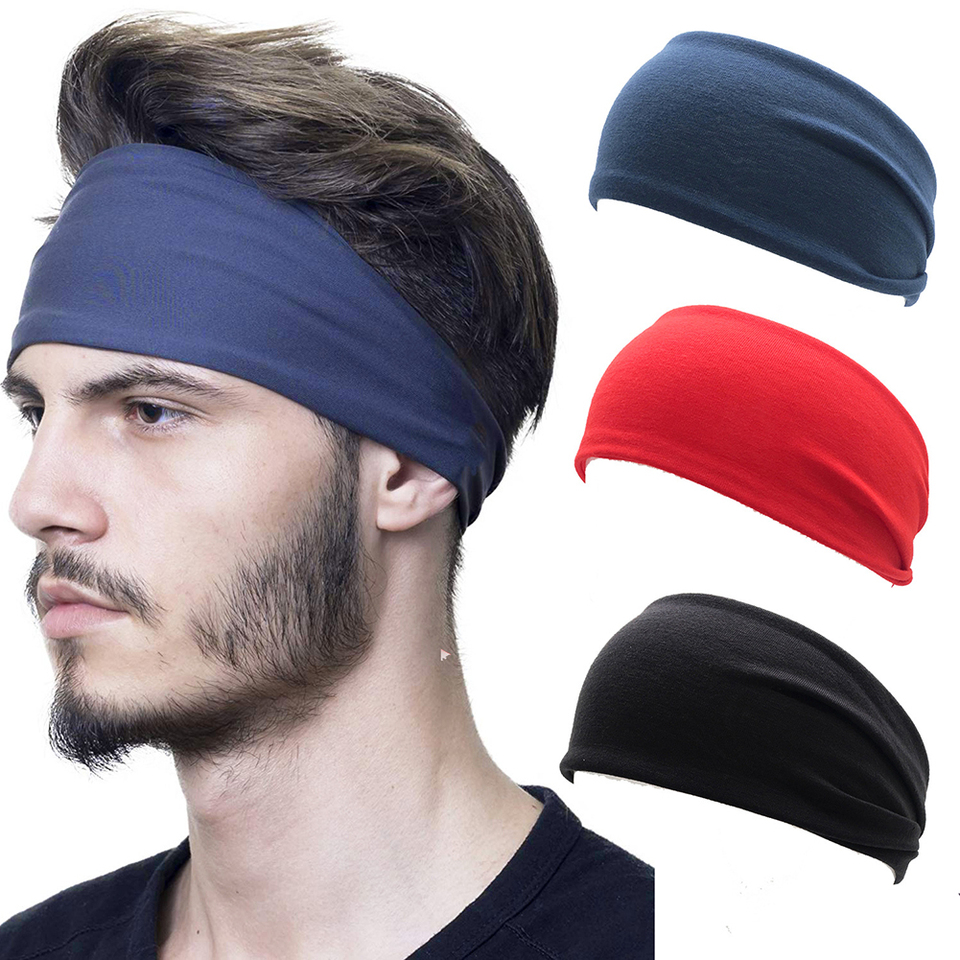 Fashion Unisex Solid Color Headband Hair Elastic Bands For Men
