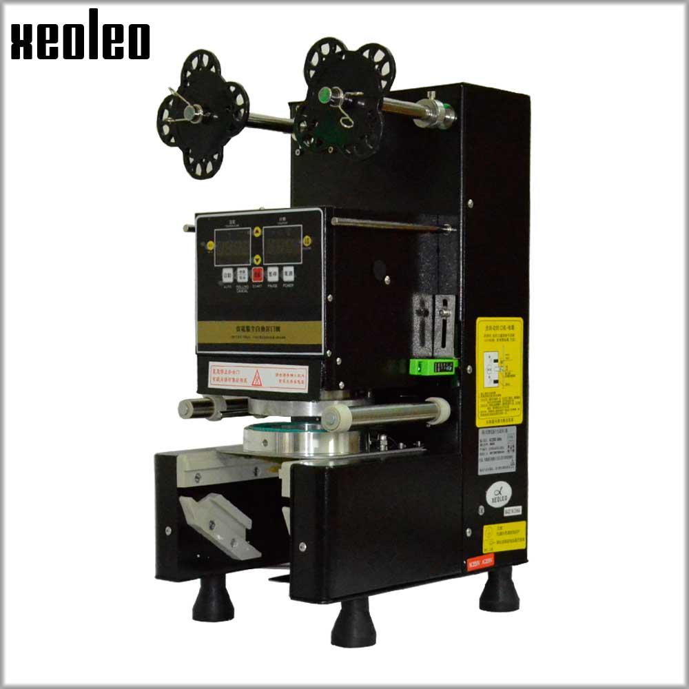 Xeoleo Automático Cheio Copo de Vedação máquina de selagem chá Da Bolha 9/9. 5/8. 8 cm PP/PE Copo De Papel Comercial selador Copo Preto/Branco