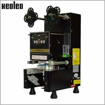 Xeoleo tasse scellant tasse machine de cachetage complètement automatique bulle thé machine pour 9/9. 5/8. 8 PP/PE/papier lait thé tasse joint noir/blanc