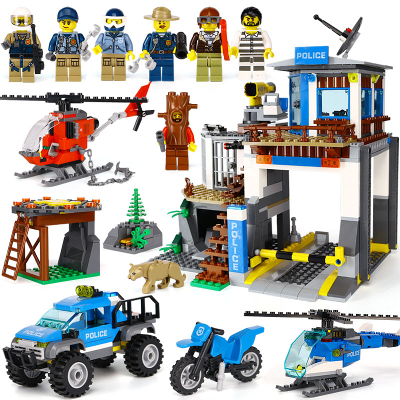 02097 742pcs Mountain Police Headquaters Helicopter Set Model Building Blocks bricks Toys for Kids Compatible Legoe City 60174 ...