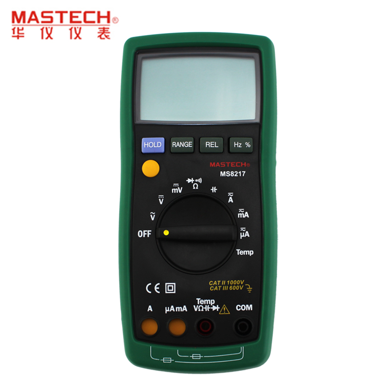MASTECH MS8217 Portable Digital Multimeter Auto ranging AC/DC Voltage DMM REL Frequency & Temperature Tester With LCD Display 1 pcs mastech ms8269 digital auto ranging multimeter dmm test capacitance frequency worldwide store