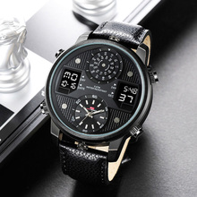 2020 Big Dial Black Dual Display Army Man Watches Leather Band Steel Men Male Quartz Watch Wristwatches Clock waches men whatch