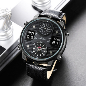 2020 Big Dial Black Dual Display Army Man Watches Leather Band Steel Men Male Quartz Watch Wristwatches Clock waches men whatch(China)