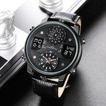 Reloj de pulsera para hombre, reloj de pulsera de cuarzo negro con pantalla Dual y correa de cuero para hombre, reloj de pulsera para hombre, wacches para hombre, 2020