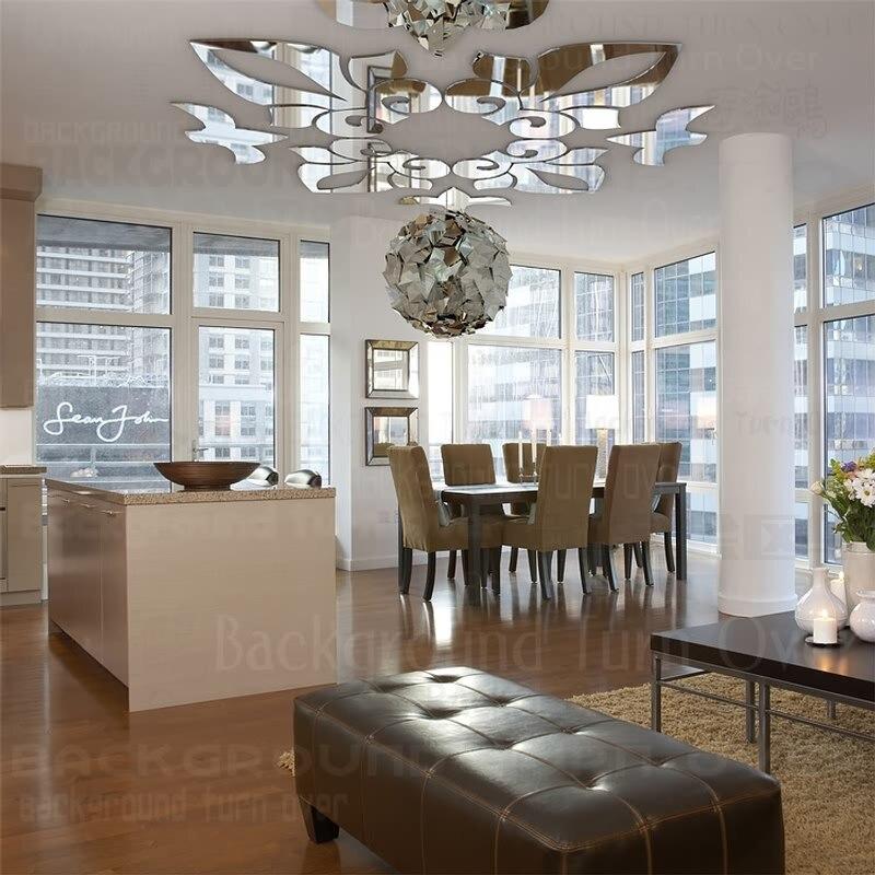 kreative abstrakten moderne acryl spiegel wandaufkleber an der decke geometrische design 3d. Black Bedroom Furniture Sets. Home Design Ideas