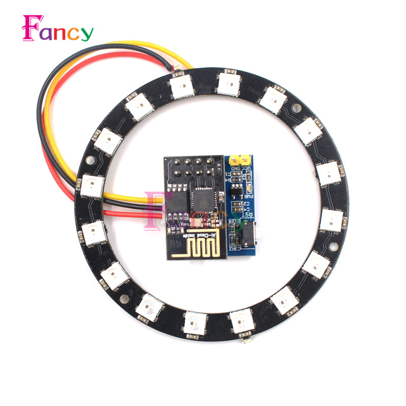 ESP8266 ESP-01 ESP-01S RGB LED Controller Adpater WIFI Module for Arduino IDE WS2812 WS2812B 16 Bits Light Ring Christmas DIY ...