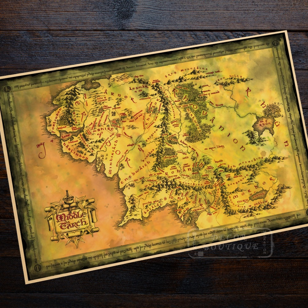 US $3.14 21% OFF|Map of Middle Earth The Hobbit Movie Poster Classic Retro  Vintage Kraft Decorative DIY Wall Canvas Sticker Home Bar Posters Deco-in  ...
