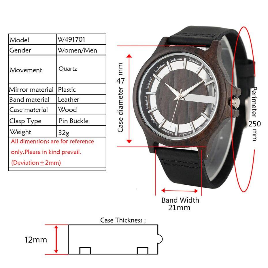 Image 4 - Transparent Hollow Dial Coffee/Brown/Black Wood Watches Quartz Timepiece Genuine Leather Watchband Creative Mens Watch New 2019Quartz Watches   -