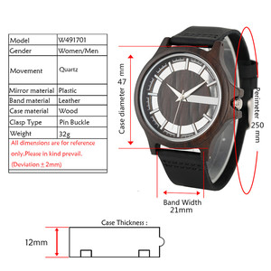 Image 4 - Transparent Hollow Dial Coffee/Brown/Black Wood Watches Quartz Timepiece Genuine Leather Watchband Creative Mens Watch New 2019