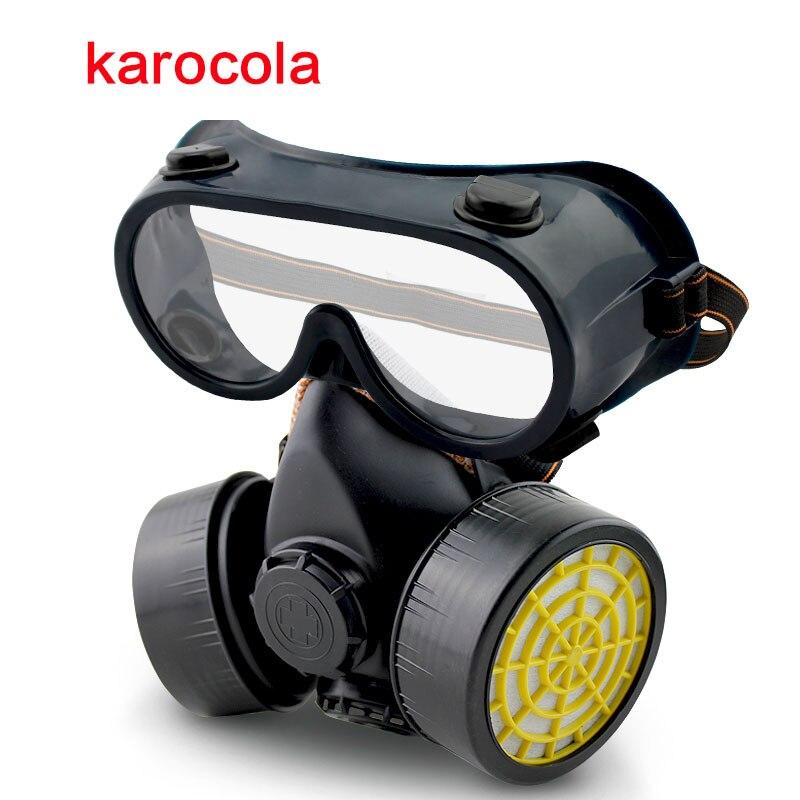 Masque respiratoire industriel à double filtre, masque à gaz peinture Anti-poussière pour le gaz chimique masque de Protection de sécurité avec lunettes en gros