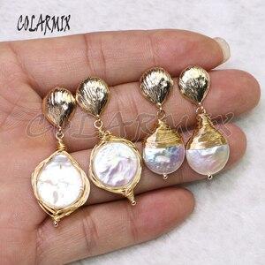 Image 4 - 5 пар серьги из пресноводного жемчуга Серьги из жемчуга оптовая продажа ювелирных изделий Модные ювелирные изделия для женщин подарок 9204