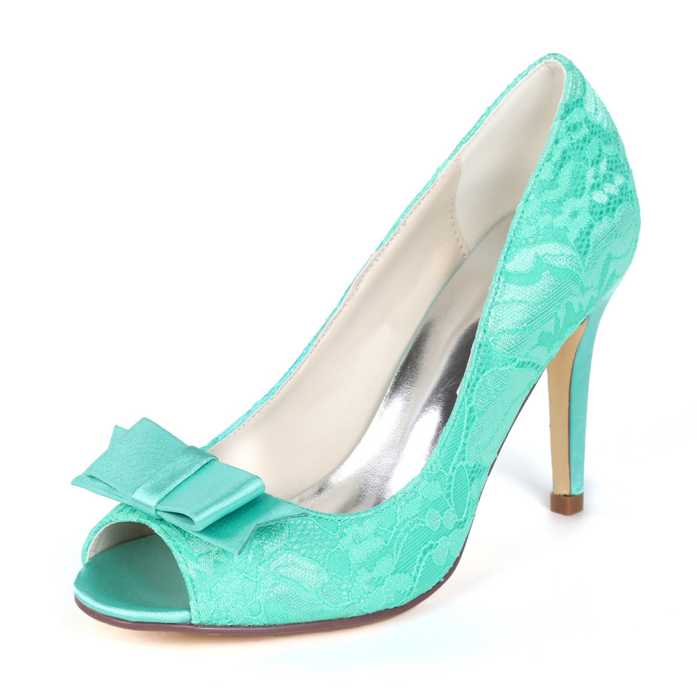 24827fe399 Creativesuga turquoise lace heels sweet bow pumps bridal wedding shoes  party prom girls brithday party dress shoes ivory mint
