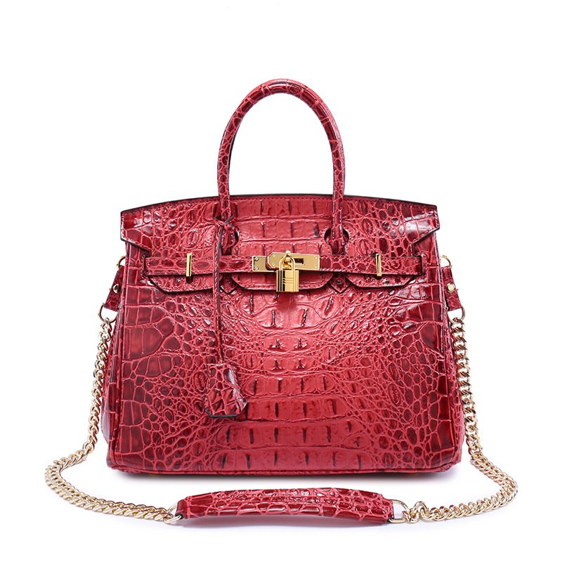 2016 Luxury Brand Platinum Designer Handbags High Quality Crocodile Pattern Genuine Leather Shoulder Bags Women 100% Cowhide