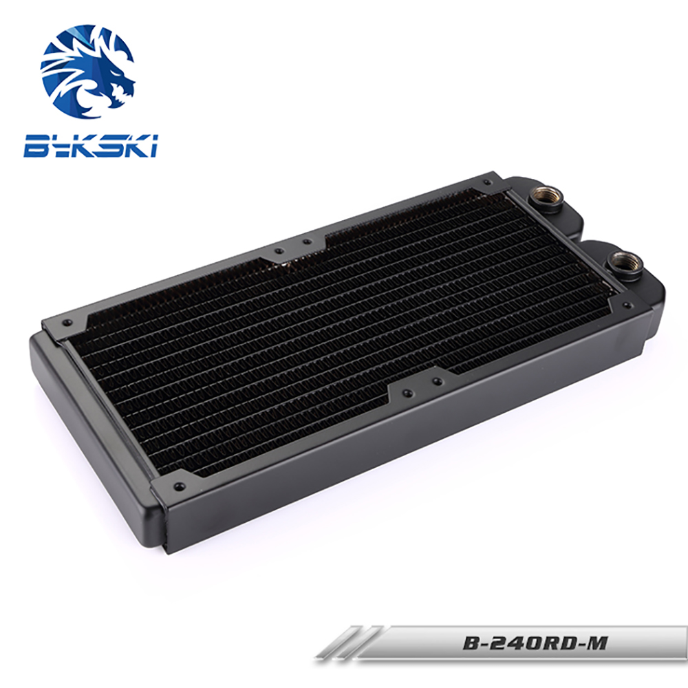 все цены на BYKSKI 28mm Thick Copper 240mm Computer Water Discharge Liquid Heat Exchanger Single Row Radiator for 12cm fans B-240RD-M онлайн