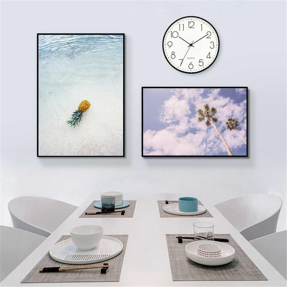 Della Tela di Canapa Pittura Paesaggio Marino Poster Spiaggia Del Mare Albero Sabbia Oceano Ananas Poster Stile Nordico Stampa Picture Parete per Soggiorno Deco