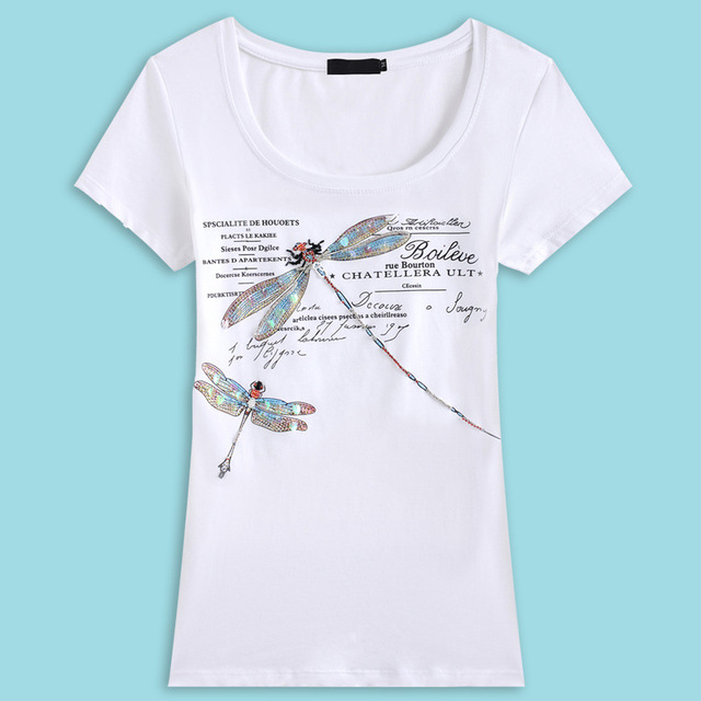 2016 Summer Women'S T-Shirt Fashion Style Handmade Dragonfly Pattern Femme Tees T Shirt Female Letter Print Camisetas Tops M~3XL