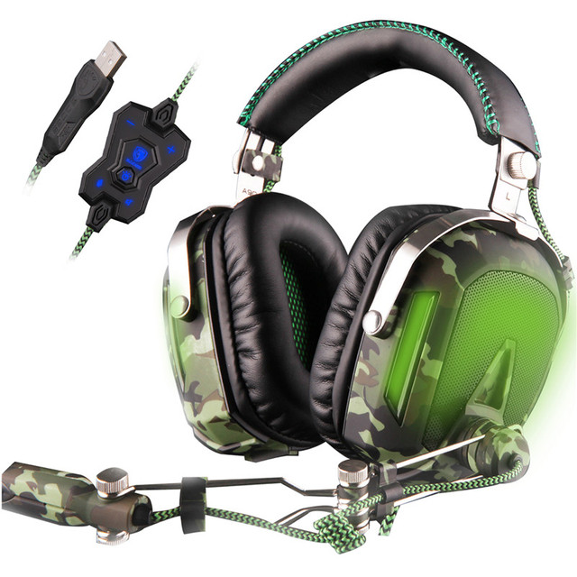 SADES A90 USB 7.1 Stereo wired gaming headphones game headset over ear with mic Voice control for laptop computer gamer