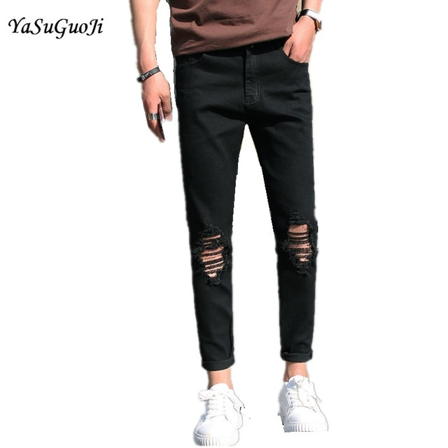 7c4f833dd1ba1 New 2017 summer preppy style fashion hole on knee pencil jeans men  distressed jeans black mens jeans NZK1-7