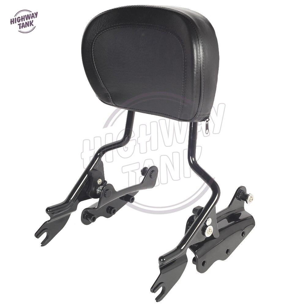 Black Motorcycle Sissy bar Backrest 4 Point Docking Kit & Pad case for Harley Touring Models 2009-2013