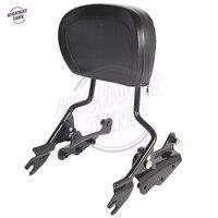 Black Motorcycle Sissy Bar Backrest 4 Point Docking Kit Pad Case For Harley Touring Models 2009