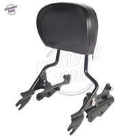 Black Motorcycle Sissy Bar Backrest 4 Point Docking Kit Pad Case For Harley Touring Models 2009