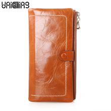 New style Korean style zipper hasp Cow Leather women wallets solid color All match mini long