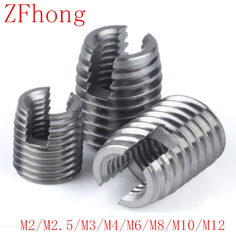 20pcs 10PCS 5PCS M2 TO M12 Stainless Steel Threaded Inserts Metal Thread Repair Insert Self Tapping Slotted Screw Threaded