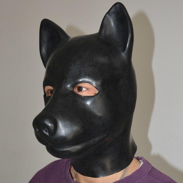 (LH2) 100% naturel pleine tête latex chien cochon chat léopard tête esclave masque caoutchouc capuche SM suffocate masque fétiche porter