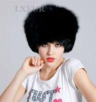 Classico di lusso donne reale pelliccia di volpe cappello signore genuine pelliccia di volpe cappelli di inverno caldo caps casuali AU00105