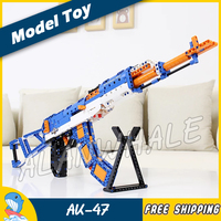 498PCS New Model Toy AK47 Shot Gun Weapon For Soldier Military Assault Elastic Bullet Plastic Shell Bricks Compitable with Lego