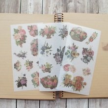 3 sheets Hand painted flower washi Paper sticker as Scrapbooking DIY gift packing Label Decoration Tag party