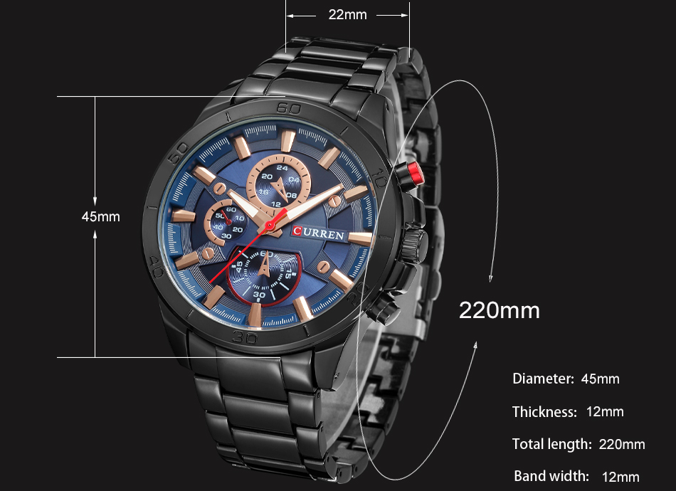 HTB138TsfbSYBuNjSspfq6AZCpXa6 CURREN Luxury Brand Men Watch Fashion Analog Sports Wristwatches Casual Quartz Full Steel Band Male Clock Relogio Masculino