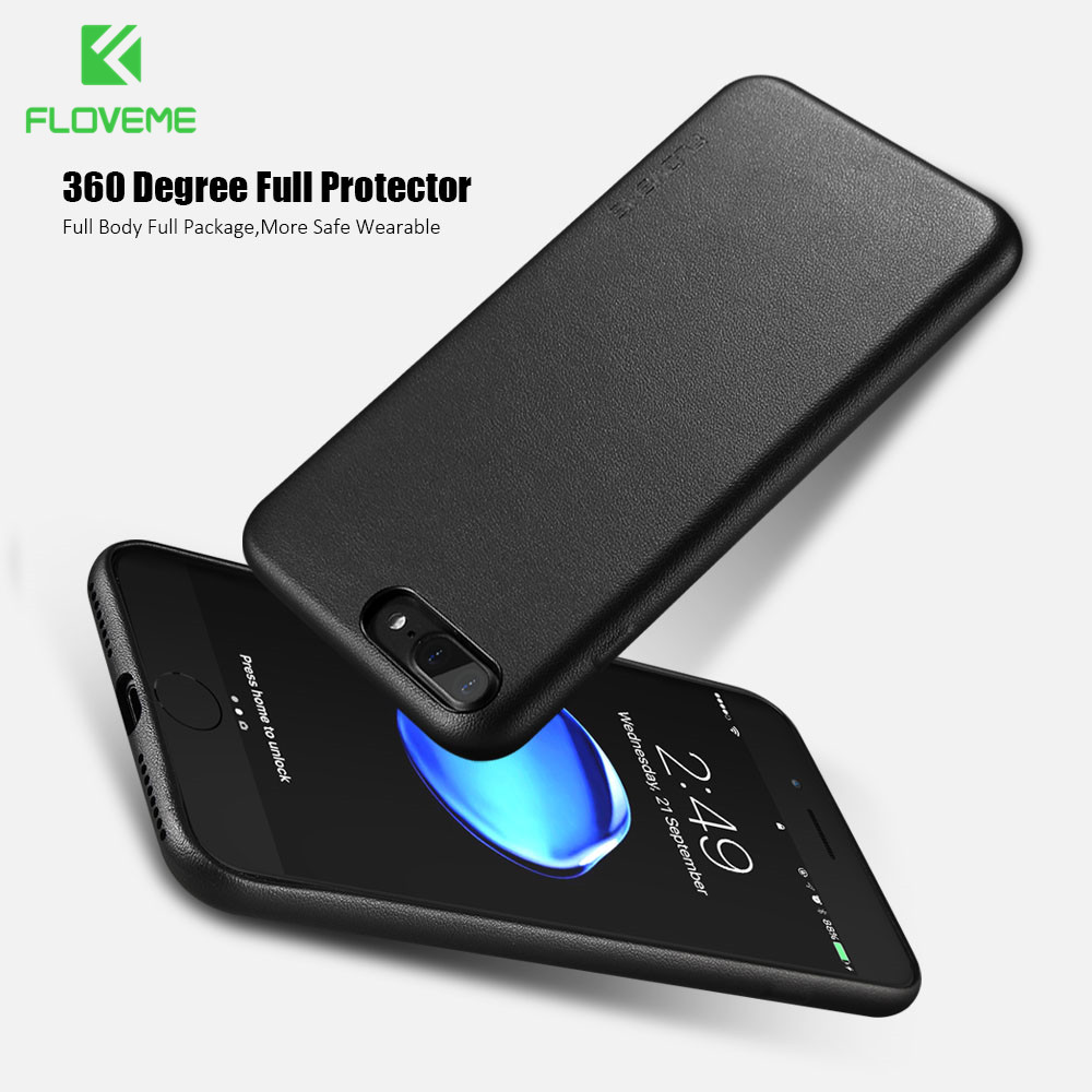 FLOVEME Leather PU Case For iPhone 6 6s Plus Cases Luxury Ultra Slim Full Protective Back Cover For iPhone 7 8 Plus Coque Fundas