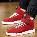 Nuevos Hombres de la Primavera Zapatos de Deporte de Cuero de Moda Casual de Alta Superior deporte Para Caminar Zapatillas Botines Con Cordones Para Hombre Rojo Hombre