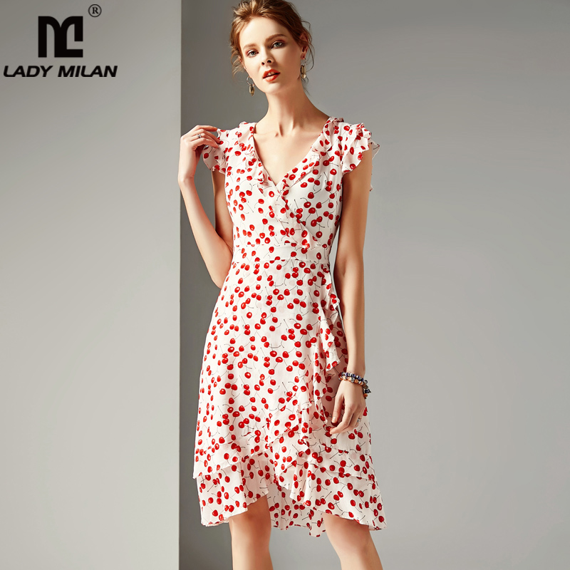 Lady Milan 2019 Women's 100 Silk Runway Dresses V Neck Short Sleeves Ruffles Printed Floral Fashion Dresses-in Dresses from Women's Clothing    1