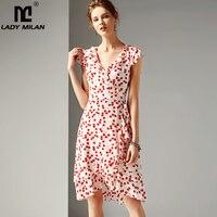 Lady Milan 2019 Women's 100 Silk Runway Dresses V Neck Short Sleeves Ruffles Printed Floral Fashion Dresses