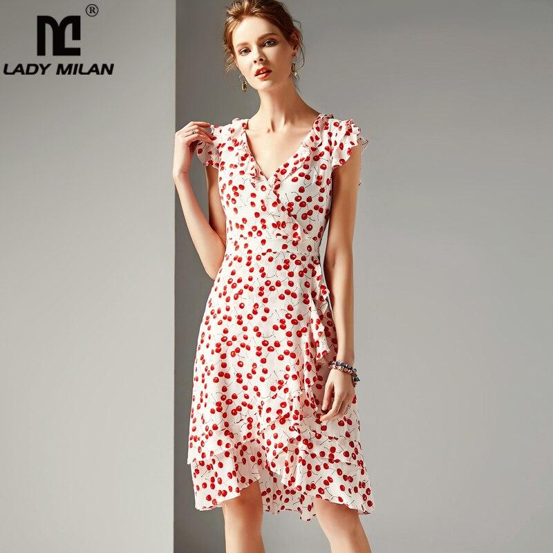 Señora Milan 2019 mujeres 100 vestidos de pasarela de seda cuello en V mangas cortas volantes impresos Floral vestidos de moda-in Vestidos from Ropa de mujer    1