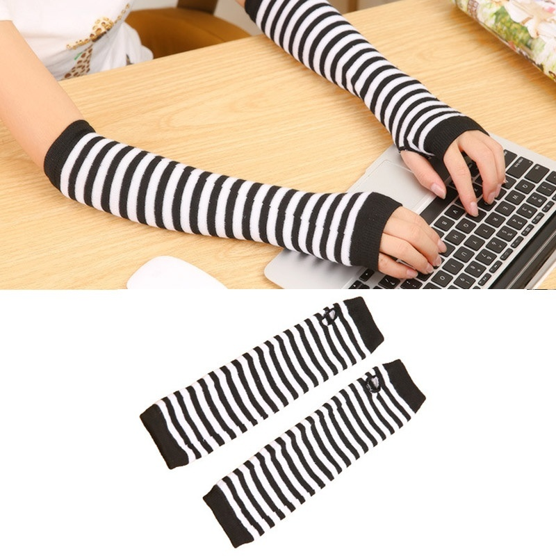 Lady Stretchy Soft Knitted Wrist Arm Warmer Long Sleeve Fingerless Gloves Striped GDD99